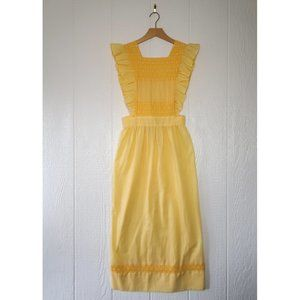 VINTAGE Yellow Plaid Embroidered Ruffle Maxi Apron